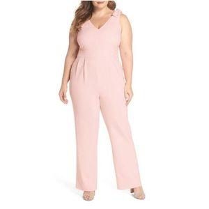 Chelsea28 Pink Bow Shoulder Jumpsuit NWOT